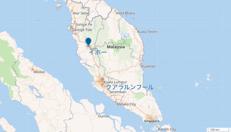 イポーとクアラルンプールの地図